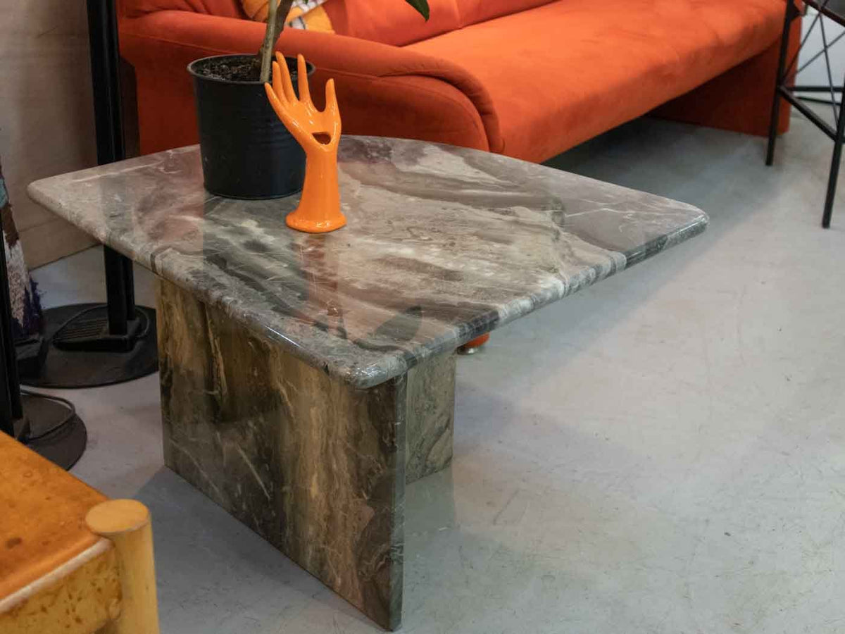 Retro grey marble side table