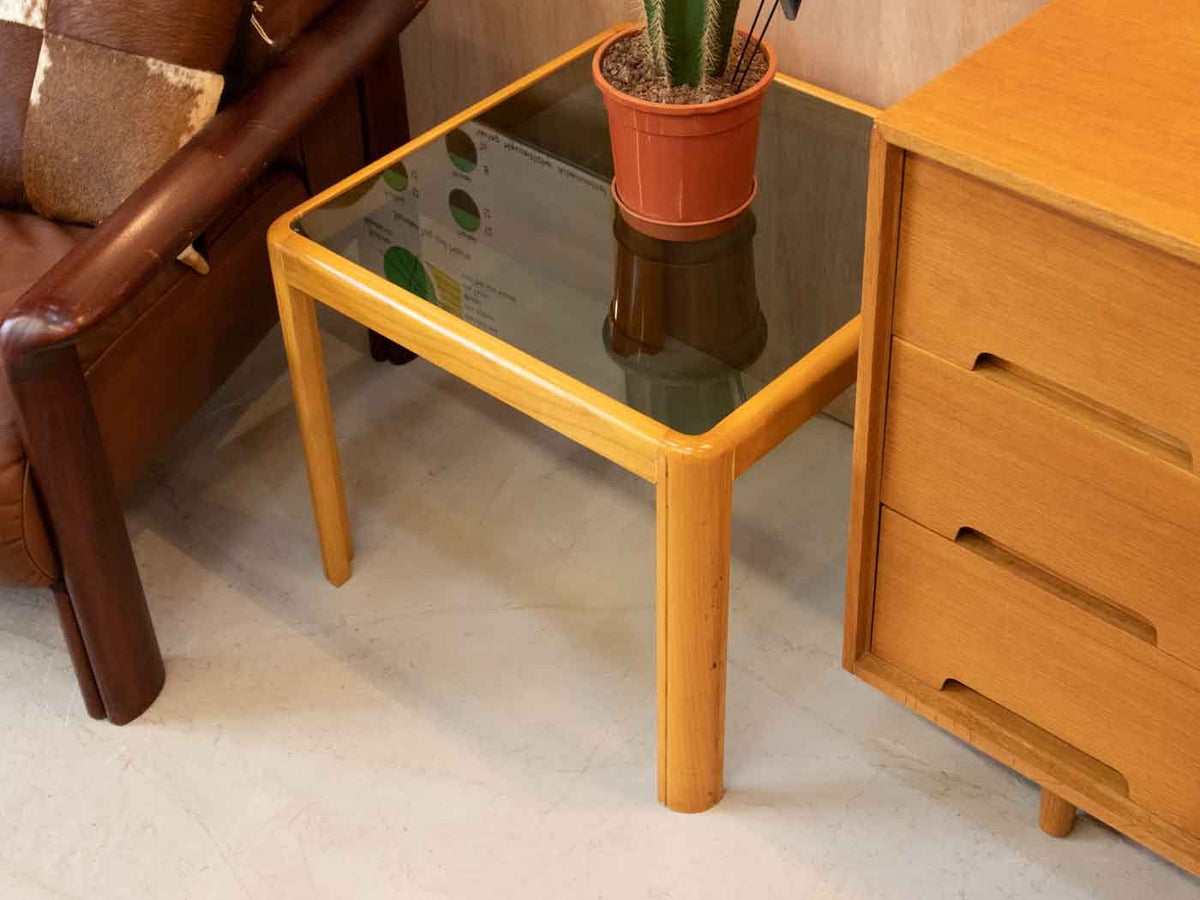 Glass mid century side table