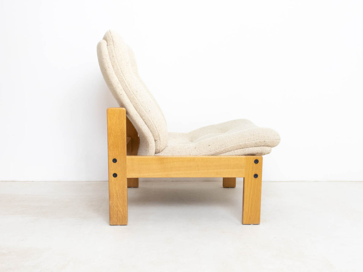 Vintage Oak Reclining Lounge Chair