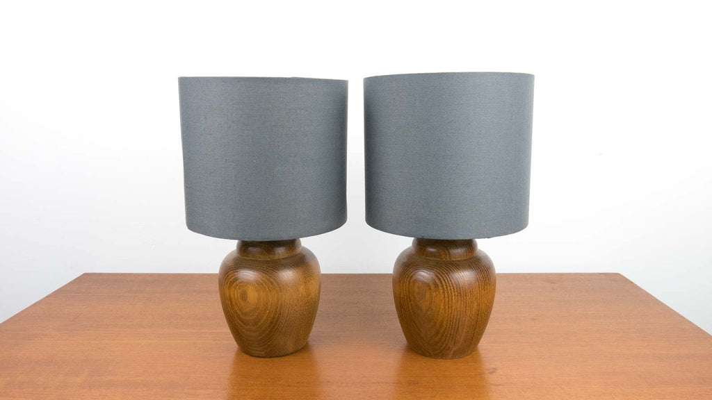 pair of teak lamps