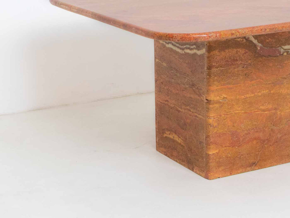 Vintage Italian Marble Coffee Table - Burnt Orange