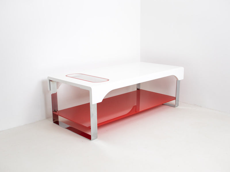 white and red coffee table