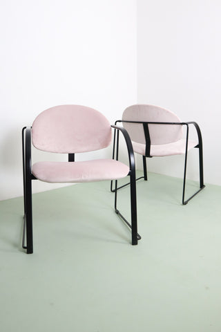Vintage Pink Velvet Office Chairs