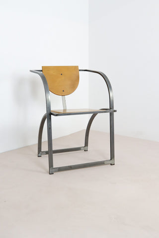 Postmodern Steel and Ply Armchair