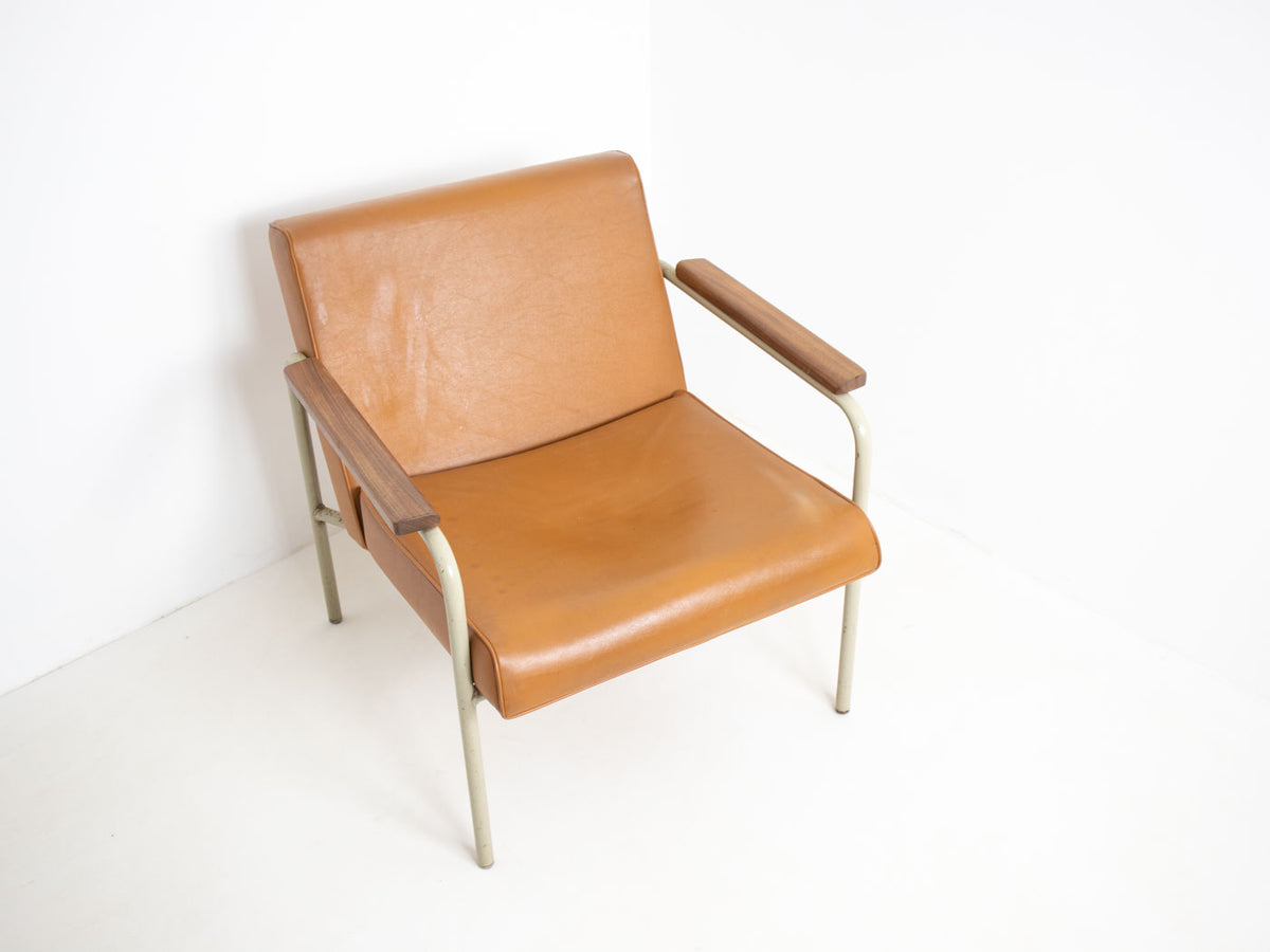 Mid century vintage leather armchair