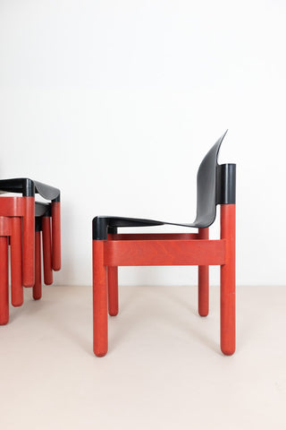 Thonet Flex 2000 Stacking Chairs - Red