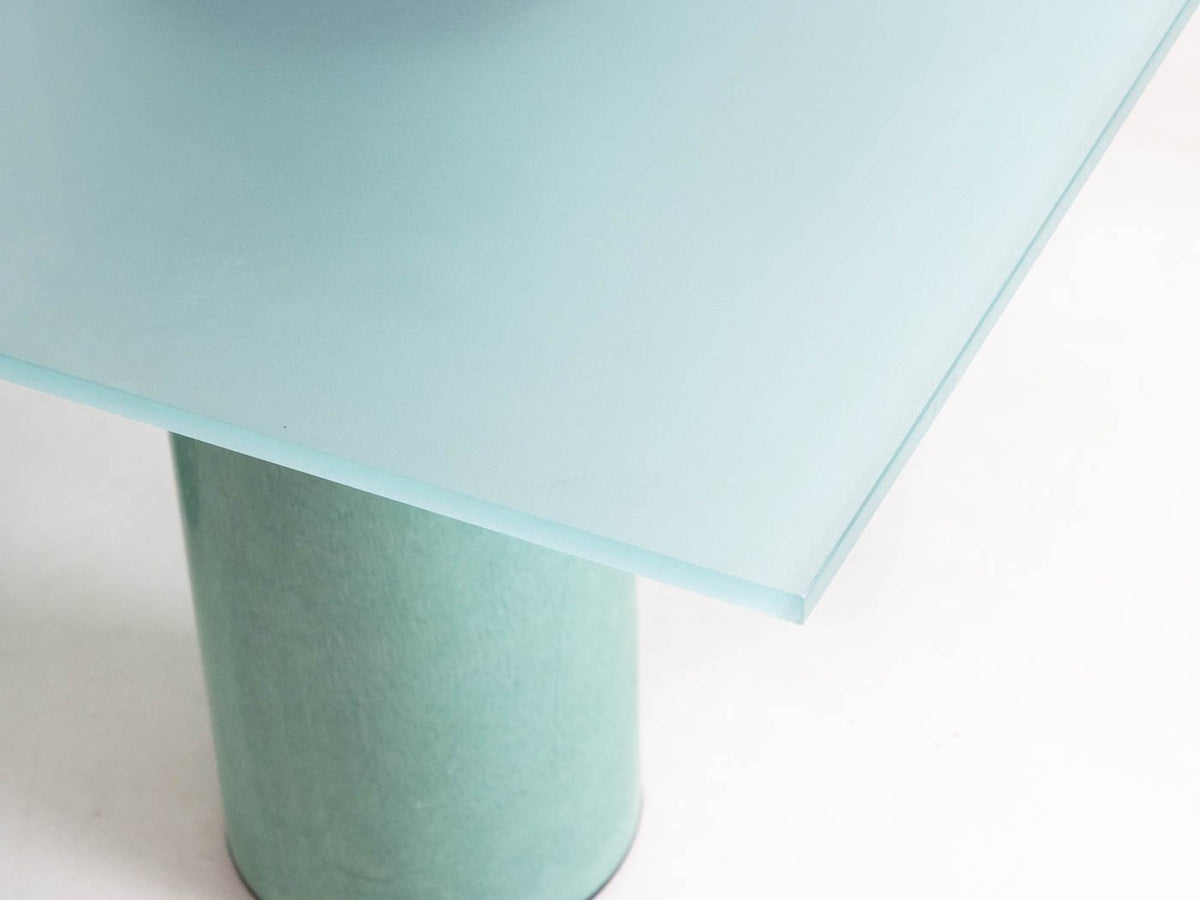 Glass and steel green table