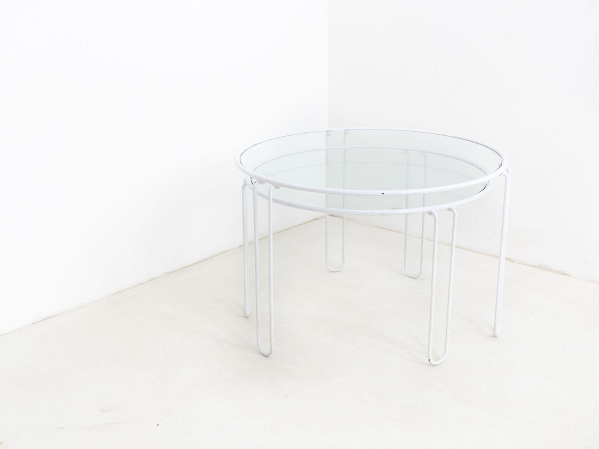 White metal and glass nested tables