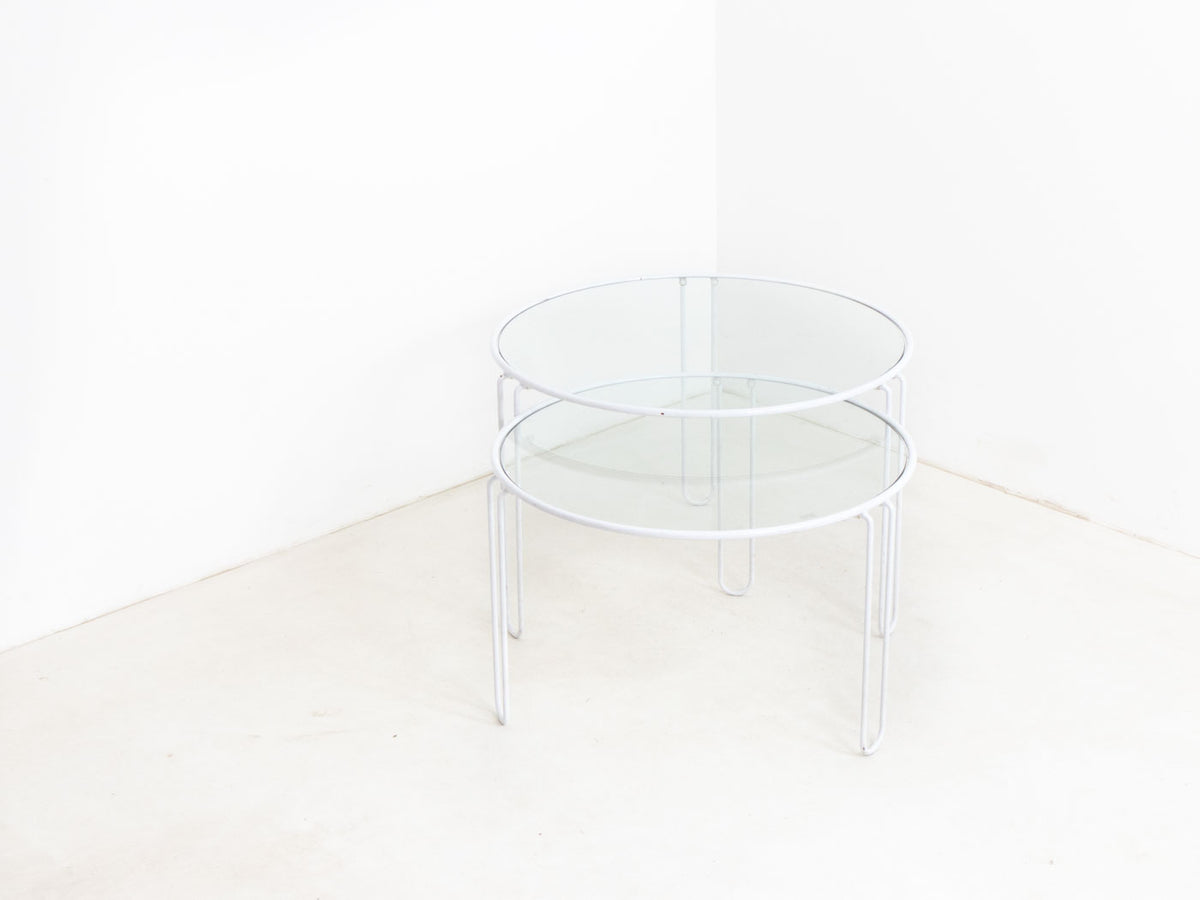 Vintage glass nesting tables