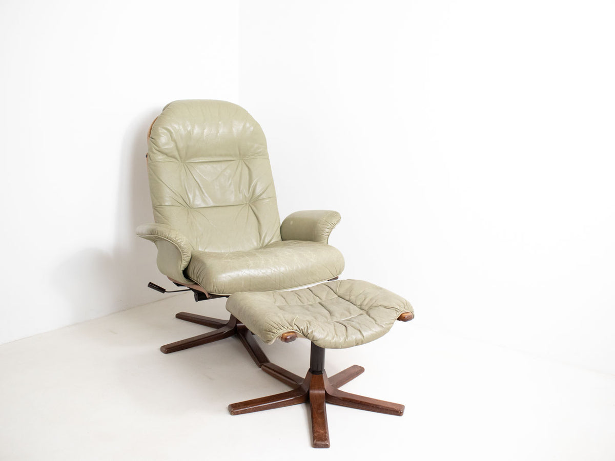 Retro Swedish swivel chair with footstool