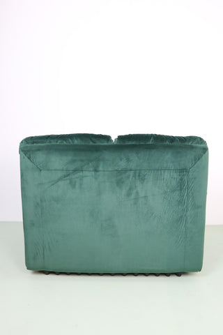 Vintage Italian armchair reupholstered in dark green velvet