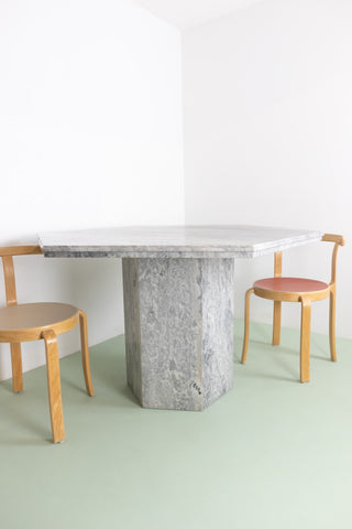 Hexagonal Grey Marble Dining Table
