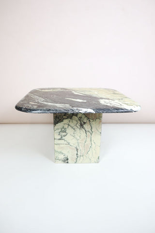 Square Vintage Italian Marble Coffee Table - Grey and Cream