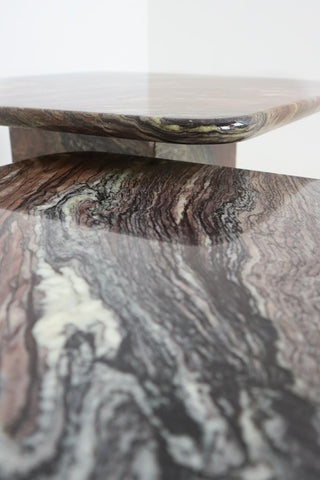 Vintage Italian Marble Nesting Tables - Grey, Black, Cream and Red