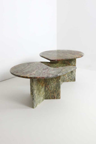 Vintage Italian Marble Nesting Coffee Tables - Sage and Berry