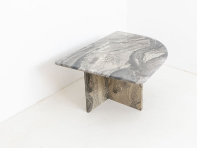 Vintage grey marble side table