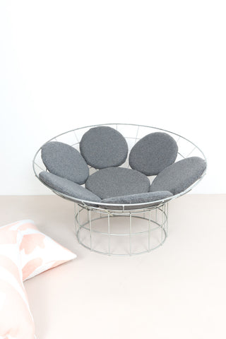 Original Panton Peacock chair with grey pebble cushions