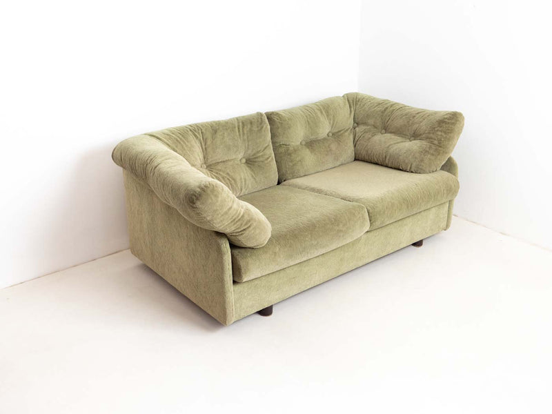 Vintage Green Velour Two-Seater Sofa