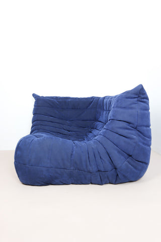 Retro Blue suede Togo lounge chair