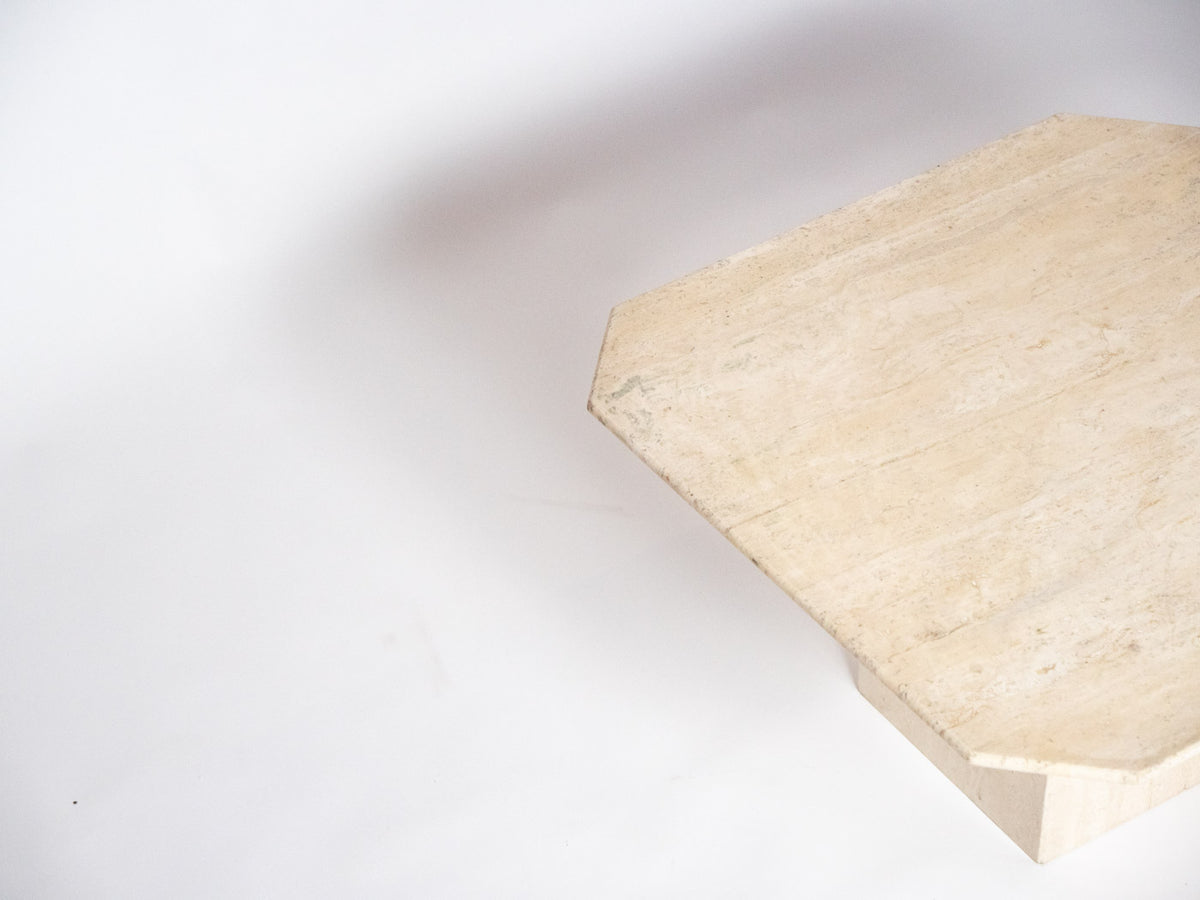 vintage travertine square coffee table