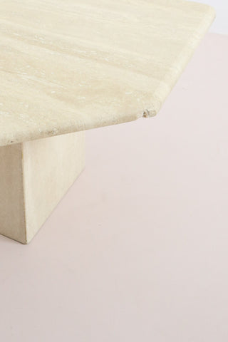 Vintage Italian Travertine Corner Table