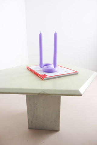 retro cream marble side tables