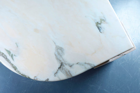 Leaf-Shaped Pink Marble Coffee Table