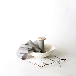 Grey Fantail - Hand Dyed Silk Ribbon