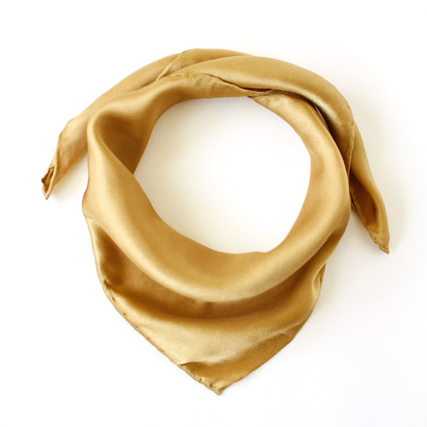 Silk Satin Scarf - Golden