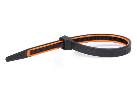 GripLockTies 12.35in OAL Orange Rubber 15pk