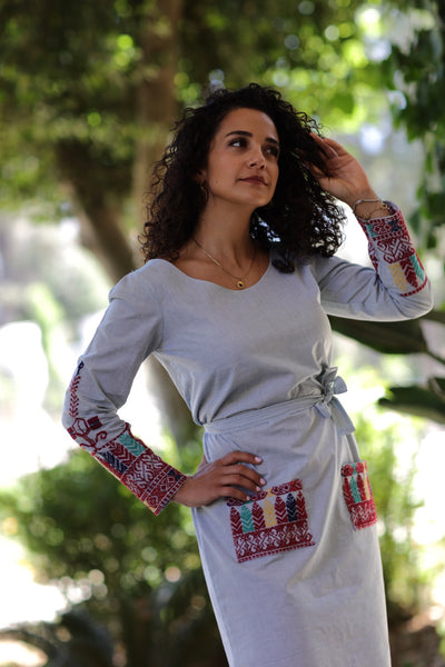 Taita Leila handmade palestinian embroidery irdan collection poplin dress
