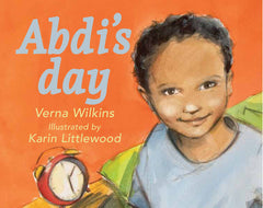 Illustrated book cover with young brown-skinned boy smiling