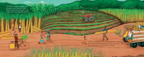 Illustration of people working on a farm in Uganda