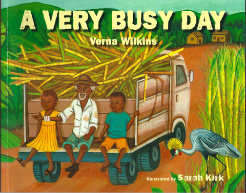 Illustration of black man and two children sitting at the back of a truck on a farm