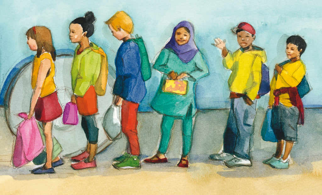 Diverse group of six children standing in a line