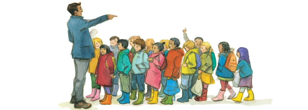 Group of diverse children led by a brown skinned teacher