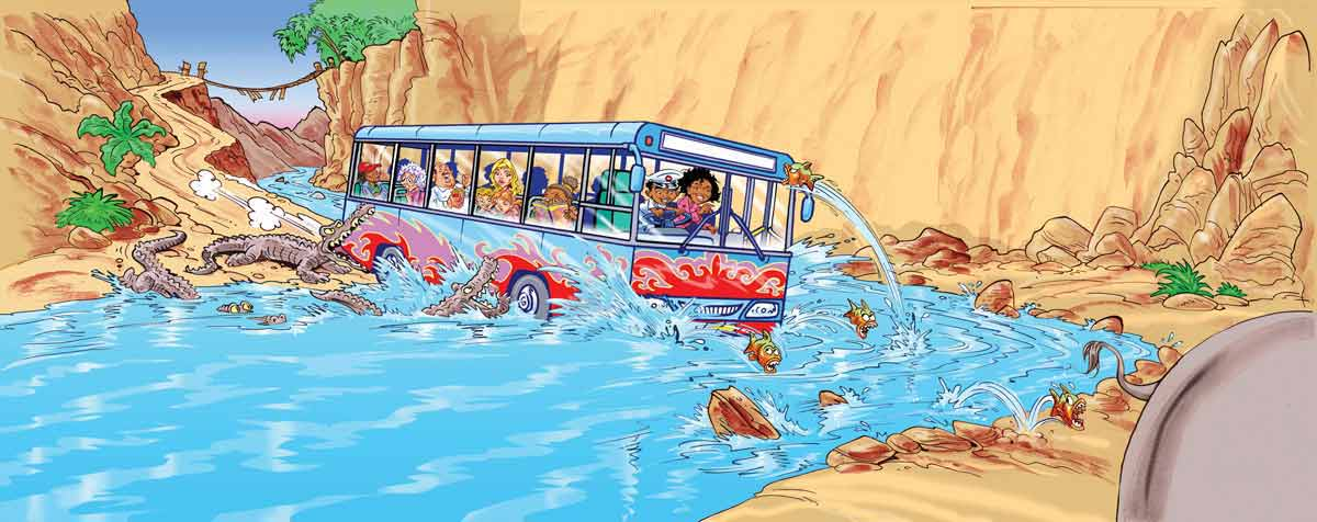 Two children have driven a coachful of people into a river