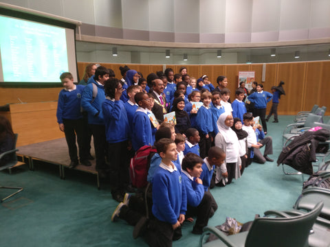 Chalkhill children performers on stage with the Mayor of Brent