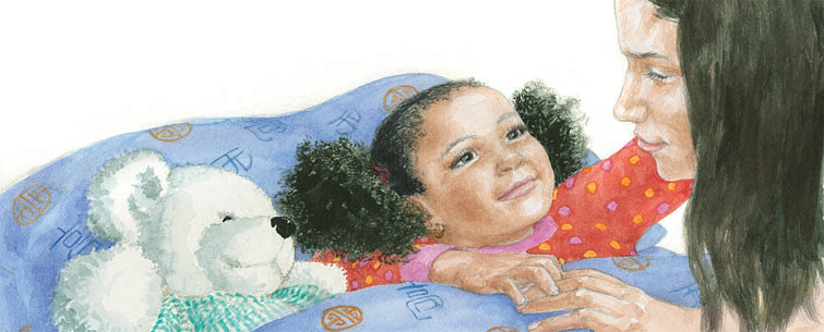 Little black girl in bed with her white teddy bear