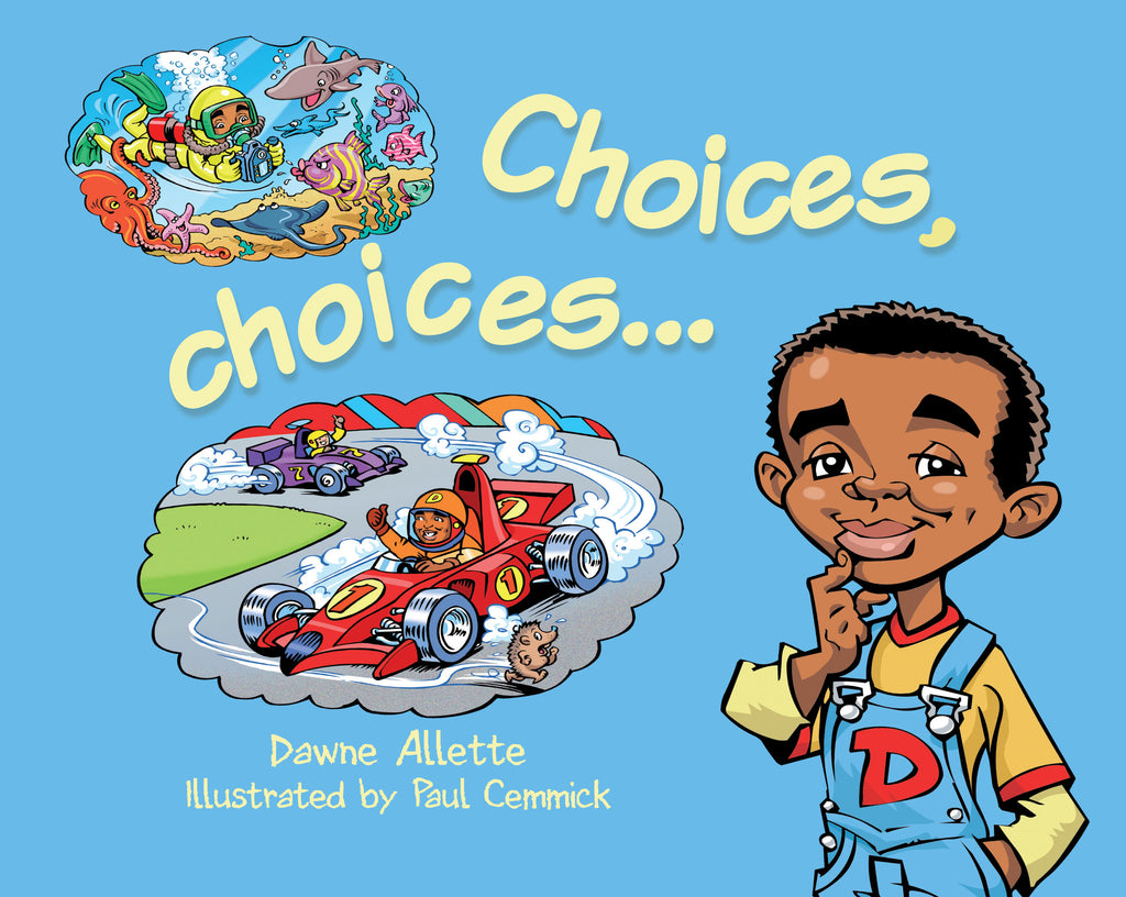 Picture book cover with black boy thinking about jobs - diving and racing cars