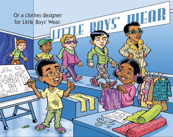 Black boy as fashion designer