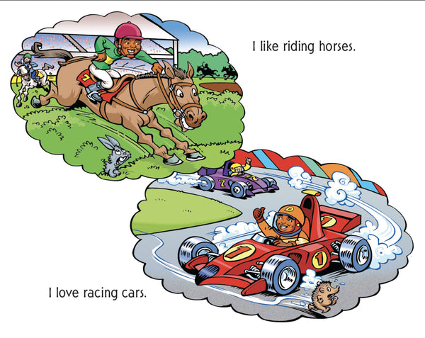 Black boy as horse rider and racing car driver