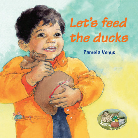 Lets feed the ducks book cover with smiling boy