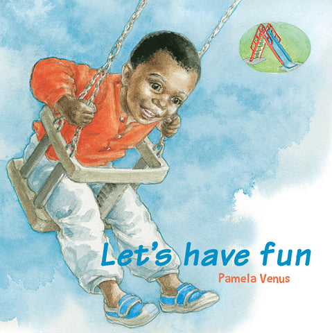 Let's have fun book cover with smiling black boy on a swing