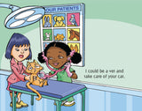 Black girl as vet, from What will I be? by Dawne Allette, illustrated by Paul Cemmick