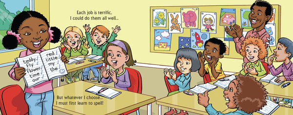 Little black girl in diverse classroom with correct spellings