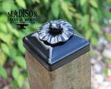 Wrought Iron Flower Post Cap for 4x4 wood / composite Post, Gate, Fence, Mailbox post cap