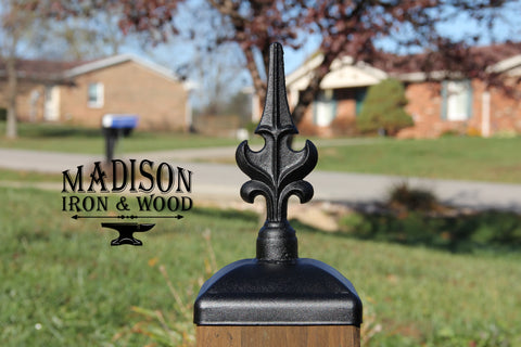 Decorative Winged Iron Fence Post Cap for 6x6 Wood Fence Post