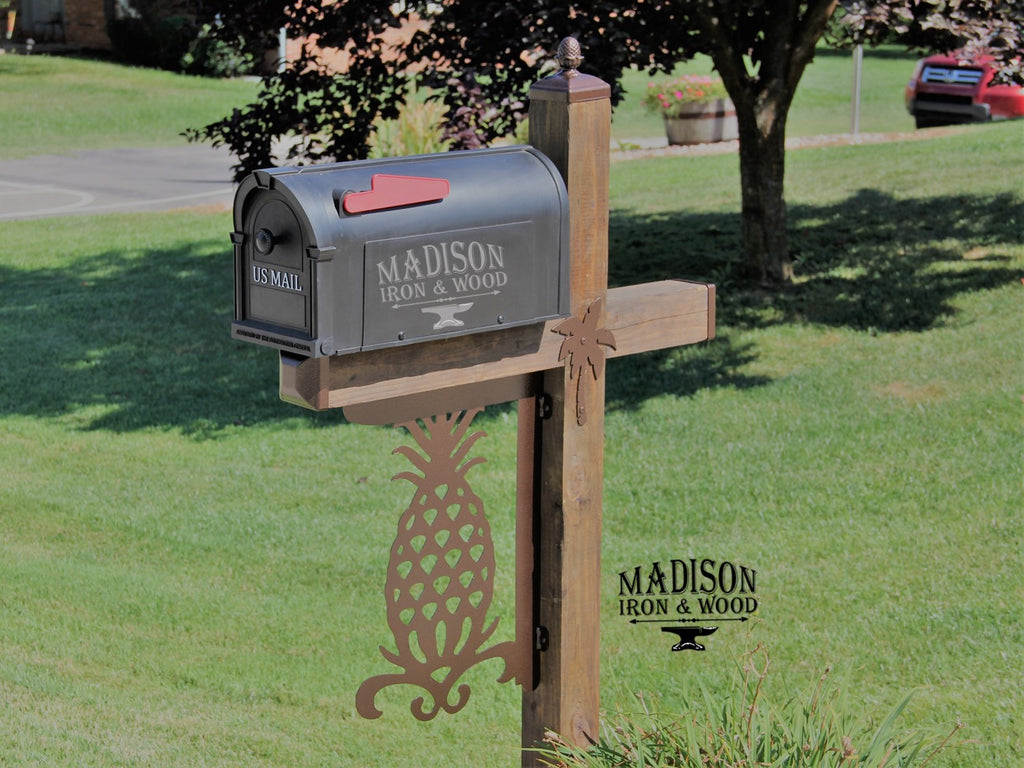 wood mailbox posts. Pineapple Mailbox Post Dress Up Kit / Décor For Wrought Wood Posts