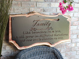 Cutom Live Edge Wood and Metal Sign, Family Quote Sign